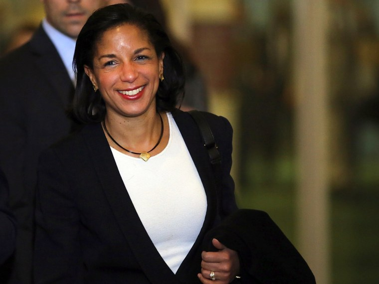 U.N. Ambassador Susan Rice leaves following a General Assembly vote granting Palestinians non-member observer status on November 29, 2012 in New York City. The resolution was approved by the 193-member body by a vote of 138-9, with 41 abstentions. The...