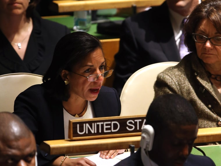 U.S. Ambassador to the United Nations Susan Rice explains the U.S. position opposing a resolution on Palestinians at a meeting of the General Assembly on November 29, 2012 in New York City. The United States, Israel, Canada and a handful of others...