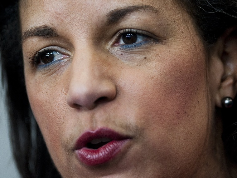 File Photo: dated February 28, 2011 shows US Ambassador to the United Nations Susan Rice speaking during the White House daily briefing at the White House in Washington, DC.  Susan Rice, on December 13, 2012, withdrew her name from consideration to be...