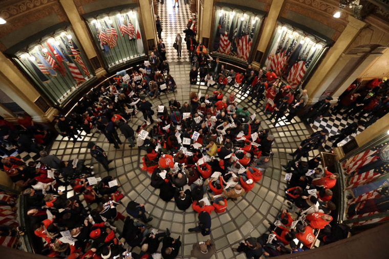 After drawing huge protests to the Capitol this week as they pushed controversial right-to-work legislation , Michigan Republican Lawmakers wrapped up their legislative session by making it harder to recall lawmakers (AP Photo/Paul Sancya)