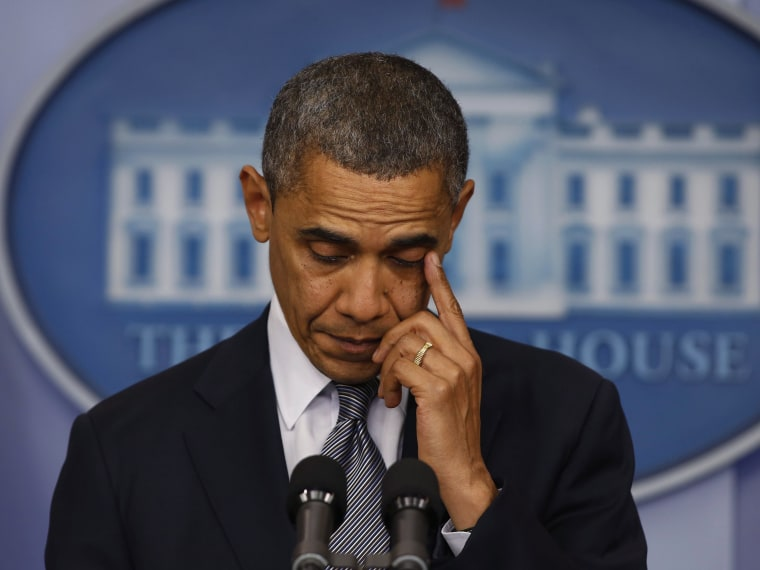 U.S. President Barack Obama speaks about the shooting at Sandy Hook Elementary School in Newtown, Connecticut, during a press briefing at the White House in Washington December 14, 2012. (Photo by Larry Downing/Reuters)