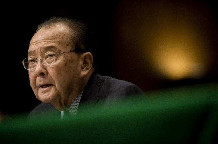 Photo dated January 14, 2009 shows US Democratic Senator from Hawaii Daniel Inouye during a hearing on Capitol Hill in Washington. Inouye died on December 17, 2012 at the age of 88, according to media reports.    AFP PHOTO/FILES/Jim WATSONJIM WATSON...