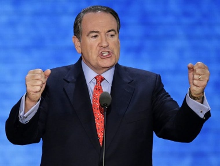 Former Arkansas Governor Mike Huckabee addresses the Republican National Convention in Tampa, Fla., on Aug. 29, 2012. (Photo by J. Scott Applewhite/AP Photo)