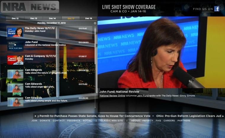 Screenshot of the NRA News website