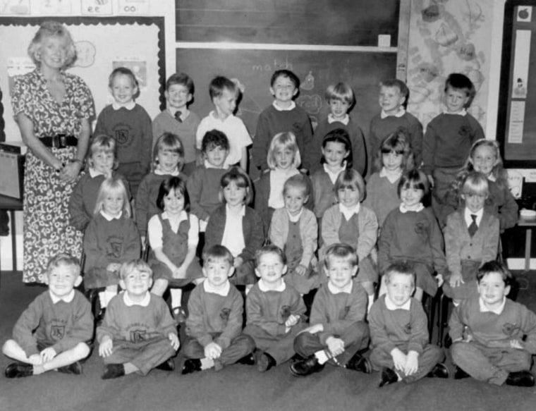 FILE--This is a recent but undated photo from files, of the intake class of Dunblane Primary School, and their teacher, Gwen Mayor, 44, from which sixteen children and Mayor were killed when gunman Thomas Hamilton, 43, opened fire with four handguns in...