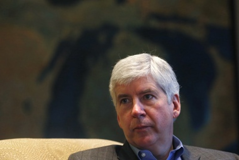 Michigan Gov. Rick Snyder is interviewed in his office in Lansing, Mich., Monday, Dec. 17, 2012. (Photo by Carlos Osorio/AP Photo)