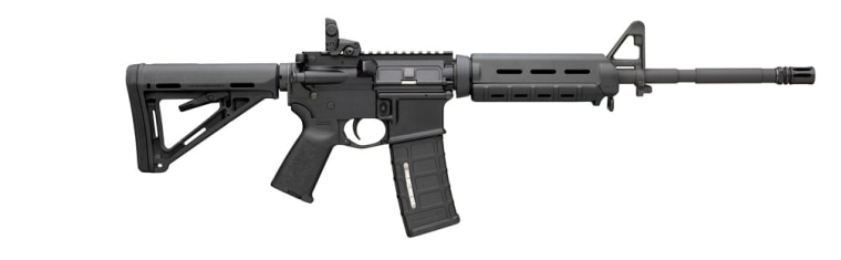 Internet picture of a Bushmaster .223 caliber Remington automatic weapon, similar to the one found with a 30 round magazine in Sandy Hook Elementary School killer Adam Lanza's car at the school in Newtown, Connecticut. (Rex Features via AP Images)