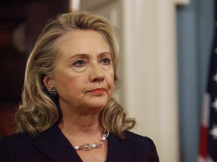 File Photo: U.S. Secretary of State Hillary Clinton delivers remarks at the State Department in Washington on the deaths of U.S. embassy staff in Benghazi in this September 12, 2012 file photo. Clinton said December 19, 2012, she accepted the findings...