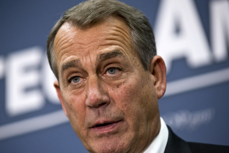 Speaker of the House John Boehner, R-Ohio, joined by the Republican leadership speaks to reporters about the fiscal cliff negotiations with President Obama following a closed-door strategy session, at the Capitol in Washington, Tuesday, Dec. 18, 2012. ...