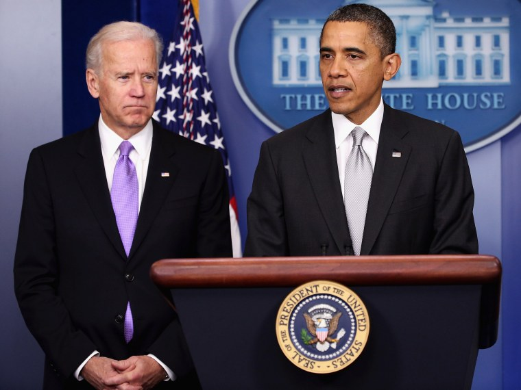 U.S. President Barack Obama (R) announces the creation of an interagency task force for guns as as Vice President Joseph Biden listens in the Brady Press Briefing Room at the White House on December 19, 2012 in Washington, DC. President Obama announced...