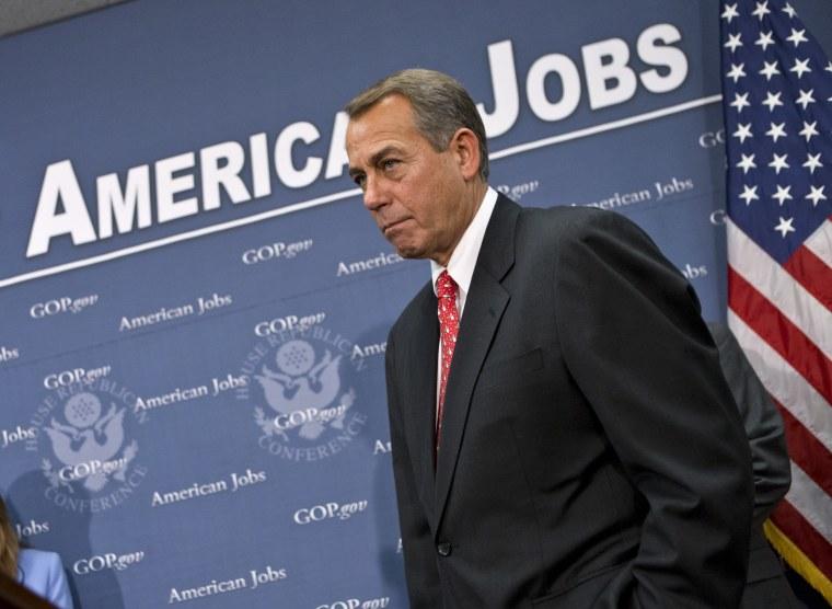 House Speaker John Boehner is fighting for more than just taxes today.  (AP Photo/J. Scott Applewhite)