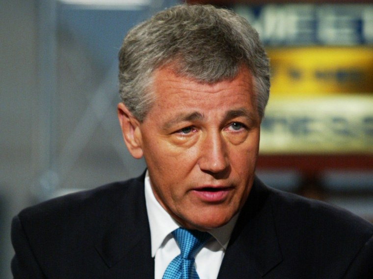 File Photo: U.S. Senator Chuck Hagel (R-NE) discusses various topics including the Middle East, National Security and the war on terrorism on NBC's 'Meet the Press' July 7, 2002 during a taping at the NBC studios in Washington, DC.    (Photo by Alex...
