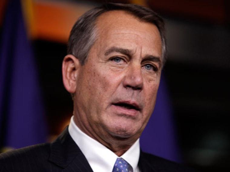 House Speaker John Boehner speaking to the media Thursday on Capitol Hill in Washington, D.C. (Photo by Yuri Gripas/Reuters)