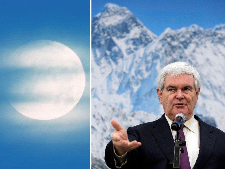 File Photos: This combo of photos shows (L) the full moon behind clouds on early December 21, 2010, seen from the northeastern German town of Petersdorf (Photo by Patrick Pleul/AFP/Getty Images) and (R) Newt Gingrich speaks during a campaign stop at...