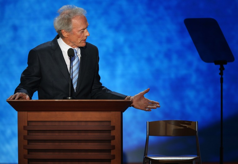 File Photo: Actor Clint Eastwood speaks during the final day of the Republican National Convention at the Tampa Bay Times Forum on August 30, 2012 in Tampa, Florida. (Photo by Mark Wilson/Getty Images/File)