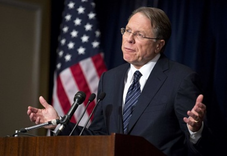 Wayne LaPierre, executive vice president of the National Rifle Association (NRA), speaks during a news conference in Washington December 21, 2012. (Photo by Joshua Roberts/REUTERS)