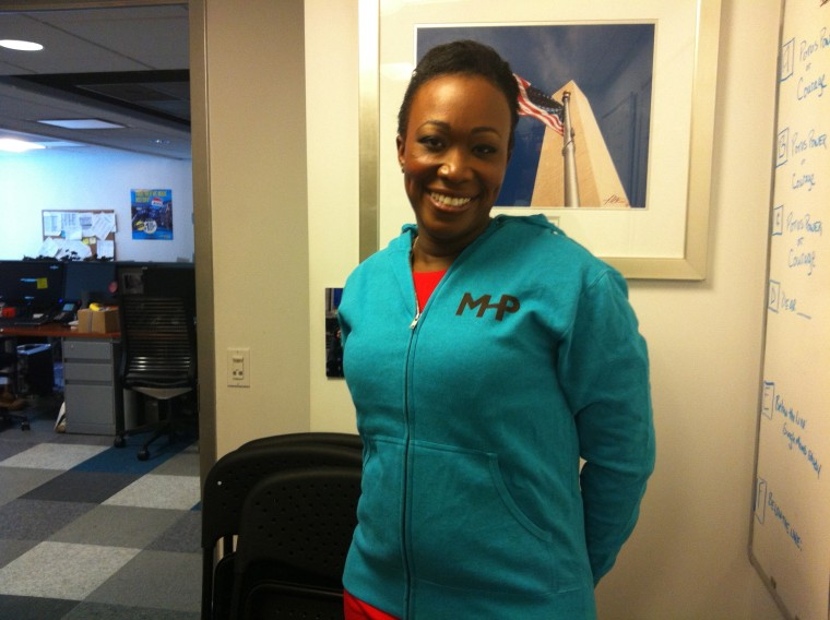 """theGrio managing editor Joy Reid sports her new \""""MHP\"""" hoodie after completing her first weekend guest-hosting \""""Melissa Harris-Perry.\"""" (msnbc/Jamil Smith)"""