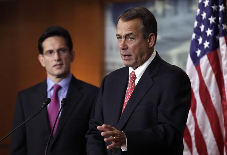 U.S. House Speaker John Boehner, R-Ohio, and House Majority Leader Eric Cantor, R-Va. (Photo by Yuri Gripas/Reuters)