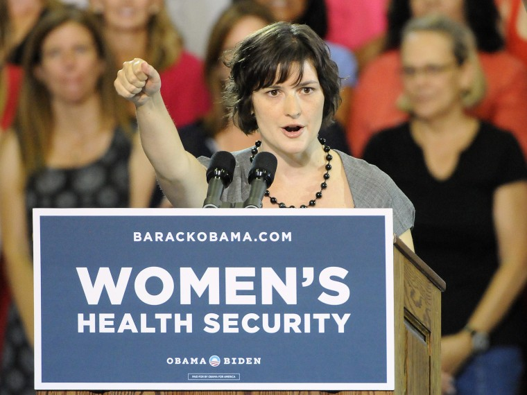 File Photo:  Sandra Fluke introduces President Barak Obama at the Auraria Event Center in Denver, Colorado USA 08, August 2012. Fluke is the Georgetown University student who gained notoriety after conservative talk show host Rush Limbaugh called her a...