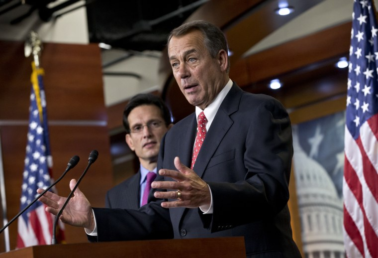 House Speaker John Boehner is telling Senate Democrats: The fiscal cliff ball is in your court. (AP Photo/J. Scott Applewhite)