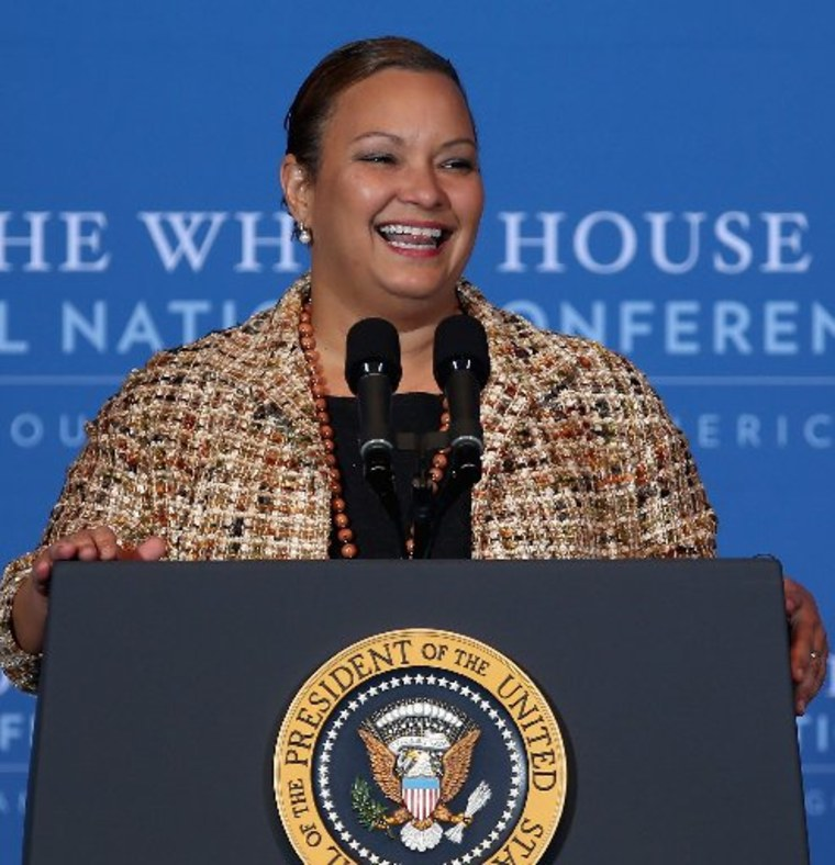 File Photo: Environmental Protection Agency Administrator Lisa Jackson addresses the White House Tribal Nations Conference at the Department of Interior December 5, 2012 in Washington, DC. President Barack Obama and cabinet secretaries from his...