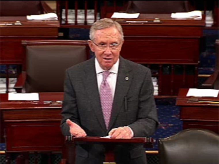 Majority Leader Harry Reid speaking about the fiscal cliff on the Senate floor on Thursday. (Photo by msnbc/Senate pool)