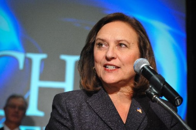 State Rep. Deb Fischer, R-Lincoln, speaks to supporters during an election night party in Lincoln, Neb., Tuesday Nov 6, 2012. (AP Photo/Dave Weaver)