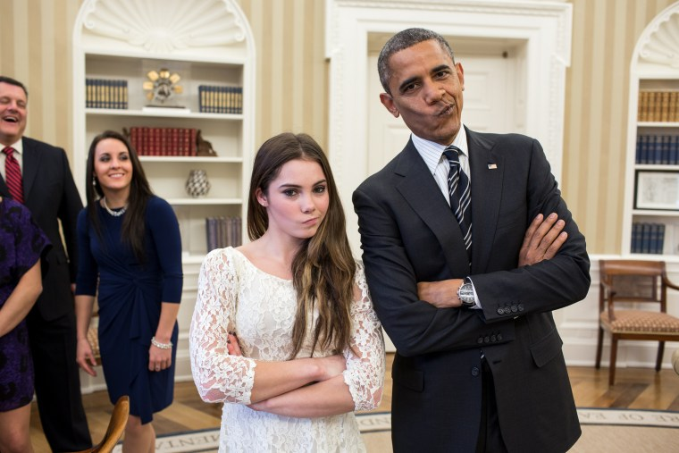 "President Barack Obama jokingly mimics U.S. Olympic gymnast McKayla Maroney's \""not impressed\"" look while greeting members of the 2012 U.S. Olympic gymnastics teams in the Oval Office, Nov. 15, 2012. Steve Penny, USA Gymnastics President, and Savannah..."