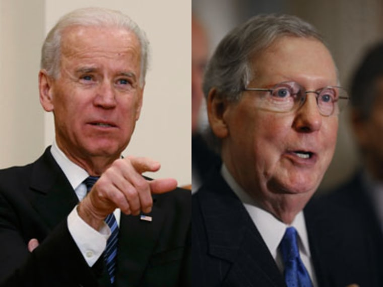 House Minority Leader Mitch McConnell called on Vice President Joe Biden to step in and help broker a deal on the fiscal cliff. Photo by Kevin Lamarque/AP; Chip Somodevilla/Getty)
