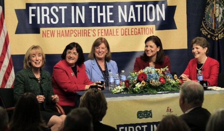 The five women holding New Hampshire's top political offices, from left, Gov.-elect Maggie Hassan, U.S. Reps.-elect Ann McLane Kuster and Carol Shea-Porter, and U.S. Sens. Kelly Ayotte and Jeanne Shaheen discuss what their lives are like as female...