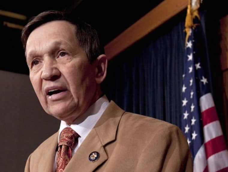 FILE - In this March 17, 2010 photo, Rep. Dennis Kucinich speaks during a news conference on Capitol Hill. (Photo by Harry Hamburg/AP Photo)