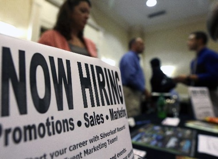 A sign attracts job-seekers during a job fair at the Marriott Hotel in Colonie, N.Y. The October employment report the government will release Friday, Nov. 2, 2012 will likely solidify the picture of the U.S. job market that's emerged this year:...