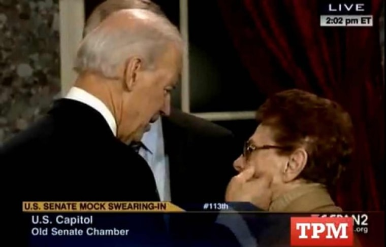Vice President Joe Biden during a ceremonial swearing in for the 113th Congress at the Old Senate Chamber in the U.S Capitol building in Washington D.C., on Thursday, Jan 3, 2013. (Photo by C-SPAN)