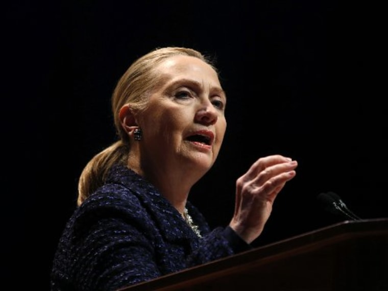 """U.S. Secretary of State Hillary Clinton delivers a speech """"Frontlines and Frontiers: Making Human Rights a Human Reality"""" at Dublin City University in Ireland in this file photo from December 6, 2012.   REUTERS/Kevin Lamarque  (IRELAND - Tags: POLITICS..."""