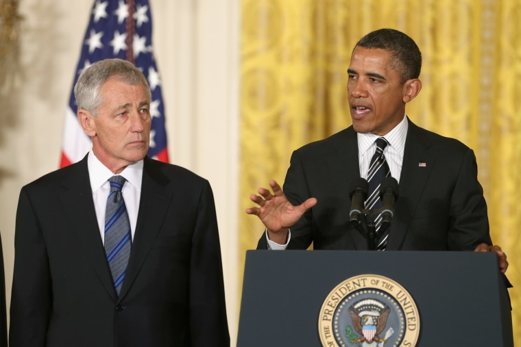 U.S. President Barack Obama (R) speaks during a news conference with former U.S. Sen. Chuck Hagel (R-NB) in the East Room at the White House on January 7, 2013 in Washington, DC. Pending approval by the Senate, the nomination of former U.S. Sen. Chuck...