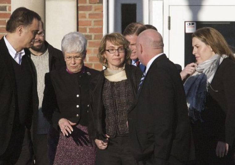 Former U.S. Rep. Gabrielle Giffords met with Newtown officials Friday afternoon before heading to visit with families of the victims of last month's Sandy Hook Elementary School massacre. (Photo by Michelle McLoughlin/Reuters)