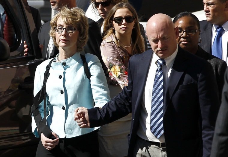 Former Democratic Rep. Gabrielle Giffords, left, and her husband Mark are launching a group to counter the gun lobby. (AP Photo/Ross D. Franklin)