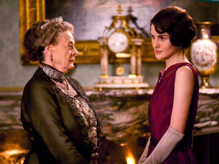 File Photo handout: From left to right: Dame Maggie Smith as Violet, Dowager Countess of Grantham and Michelle Dockery as Lady Mary in Downton Abbey series 3. (Photo courtesy of Carnival Films)