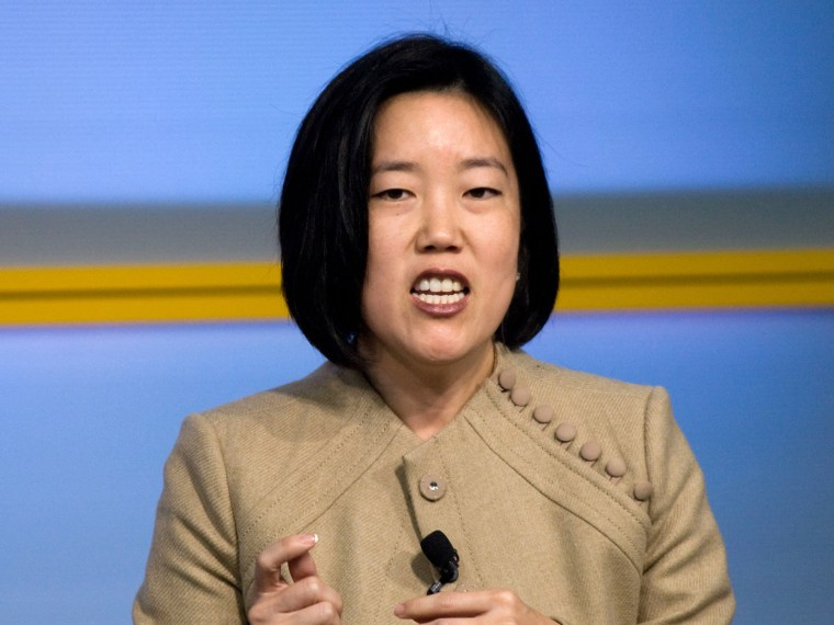 Former Washington DC Chancellor Michelle Rhee speaking in 2009. (Photo by Kris Connor/Getty Images/File)