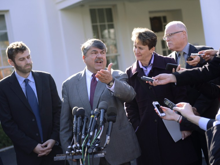 File Photo: AFL-CIO President Richard Trumka responds to a question from the news media after attending a meeting with US President Barack Obama in the Roosevelt Room of the White House in Washington, DC, USA 13 November 2012. (Photo by Shawn Thew/EPA...