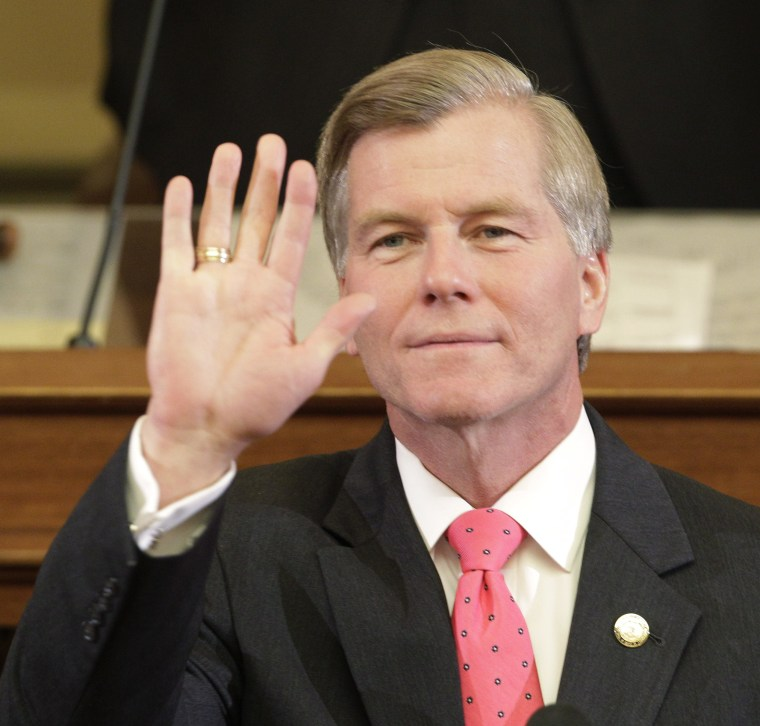 Virginia Gov. Bob McDonnell waves to his wife as he delivers his State of the Commonwealth address before a joint session of the 2013 Virginia General Assembly in the House chambers at the Capitol, Wednesday, Jan. 9, 2013 in Richmond, Va. (Photo by...
