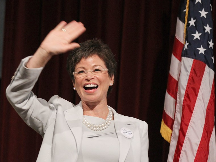 File Photo: The President's Senior Advisor Valerie Jarrett attends the Nevada Women Vote 2012 Summit on August 25, 2012 in Las Vegas, Nevada. The event focused on rallying support for President Obama's re-election.  (Photo by Isaac Brekken/Getty Images...