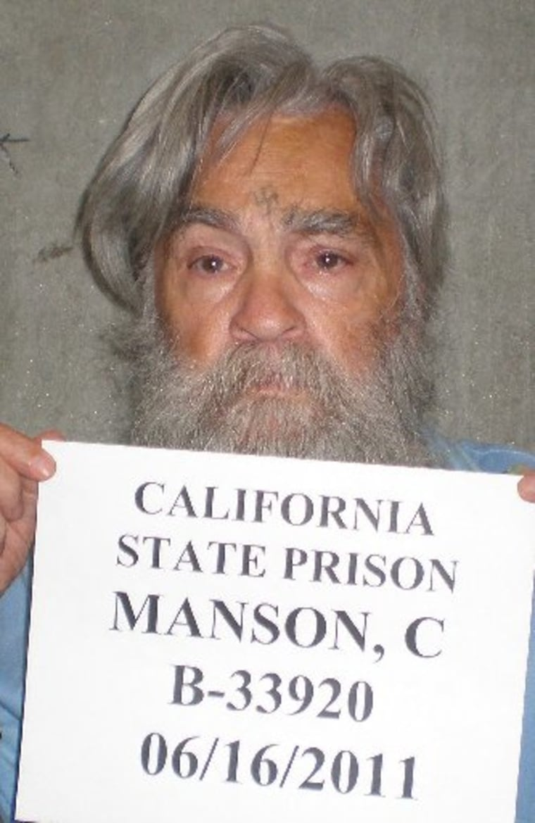 This image released by the California Department of Corrections on April 5, 2012, shows convicted serial killer Charles Manson on June 16, 2011 at the California State Prison in Corcoran, California. California corrections officials released new...