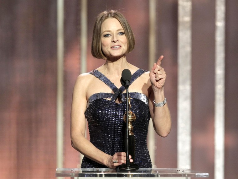In this handout photo provided by NBCUniversal,  Actress Jodie Foster receives the Cecil B. Demille Award on stage during the 70th Annual Golden Globe Awards at the Beverly Hilton Hotel International Ballroom on January 13, 2013 in Beverly Hills,...