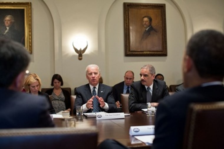 President Barack Obama and Vice President Joe Biden hold a policy meeting in the Cabinet Room of the White House, Jan. 14, 2013. (Official White House Photo by Pete Souza)