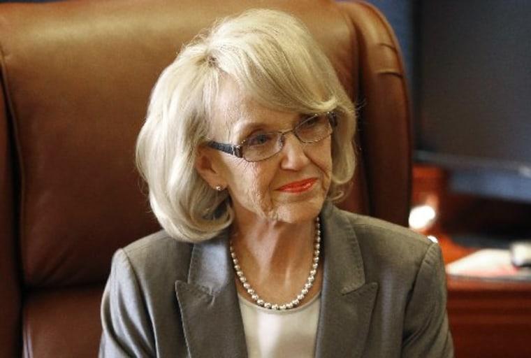 Arizona Gov. Jan Brewer at her office in Phoenix on Jan. 10, 2013 (Photo by Matt York/AP Photo)
