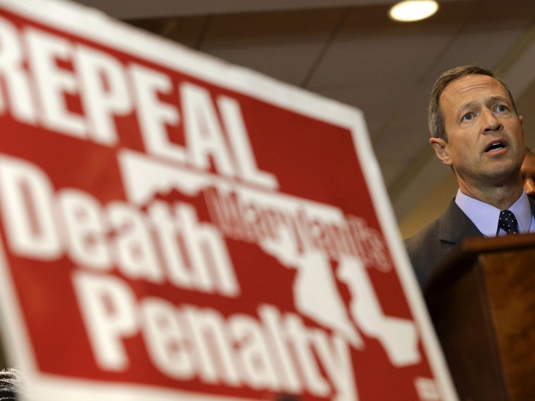 Maryland Gov. Martin O'Malley speaks at a rally in support of repealing the state's death penalty in Annapolis, Md., on Jan. 15, 2013. (Photo by Patrick Semansky/AP Photo)