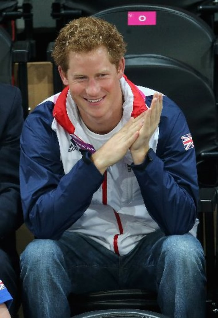 Prince Harry attends the Goalball on day 6 of the London 2012 Paralympic Games at The Copper Box on September 4, 2012 in London, England. (Photo by Chris Jackson/Getty Images)
