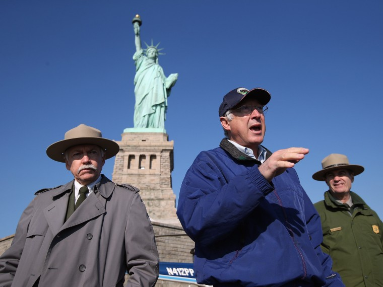 U.S. Secretary of the Interior Ken Salazar speaks to the media at the Statue of Liberty which, remains closed to the public six weeks after Hurricane Sandy on December 13, 2012 in New York City. The storm caused extensive damage to National Park...
