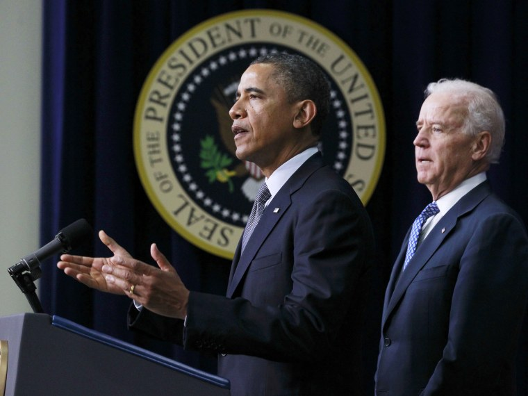 U.S. President Barack Obama (L) unveils a series of proposals to counter gun violence as Vice President Joe Biden looks on during an event at the White House in Washington, January 16, 2013. Vice President Joe Biden delivered his recommendations to...